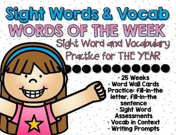 Sight words and vocab are SO important in the primary grades! I needed a ready-to-go system to efficiently practice sight words and vocabulary IN CONTEXT with my first graders DAILY so, I created this product. Each week you and your class will work on 6 sight words and one vocab