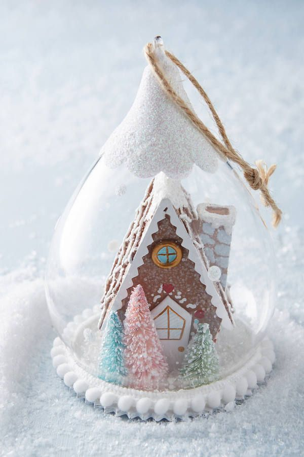 Anthropologie Gingerbread Snow Globe Ornament