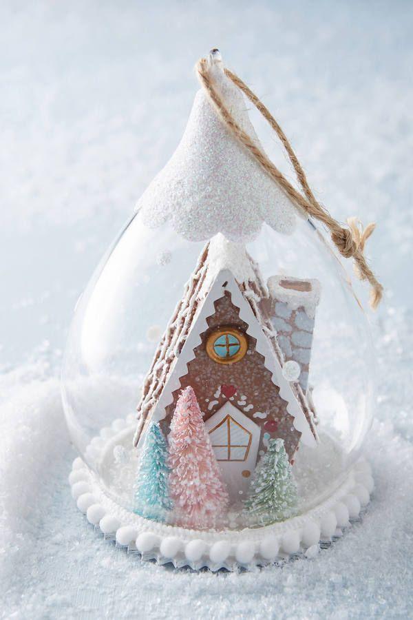 Anthropologie Gingerbread Snow Globe Ornament