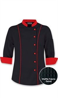 Women's 3/4 Sleeve Traditional Chef Coat - Contrast Trim