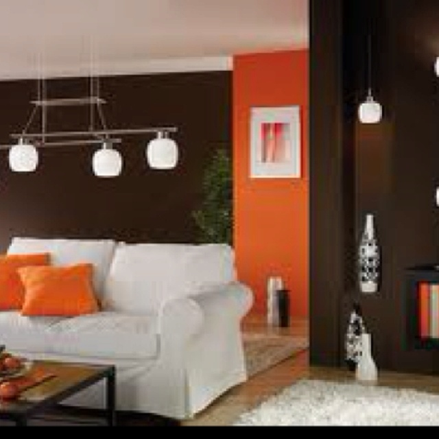 64 best Orange Living Room images on Pinterest Orange living - orange and brown living room