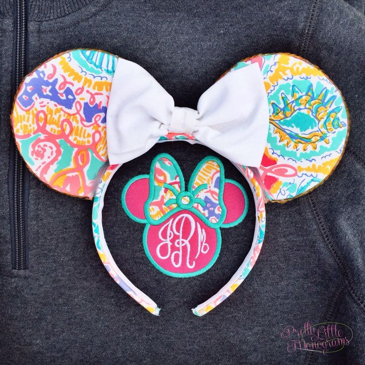 Minnie Bow Monogram Pullover with Lilly Pulitzer Fabric - Pretty Little Monograms  Preppy Park Ears - Sail Bows