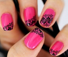 Hot pink nails with black lace, love it