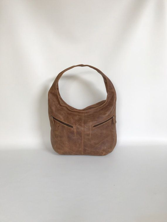 Brown Wash Distressed Leather Hobo Purse Bag with Pockets