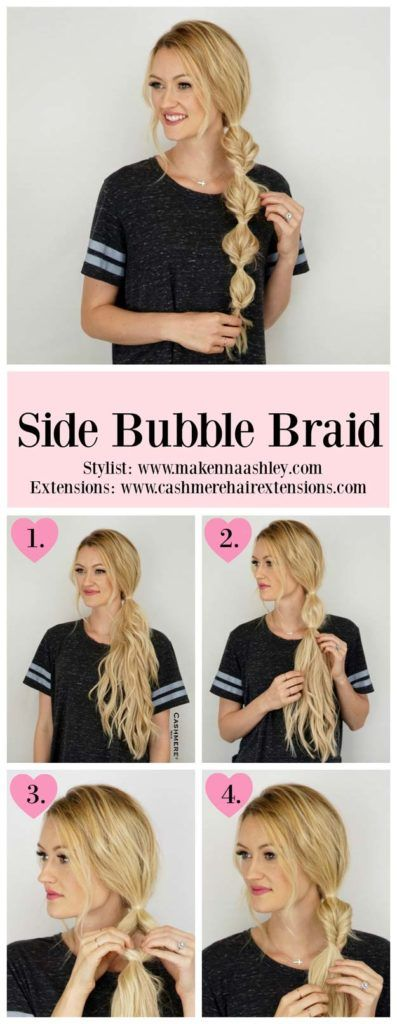 Best Hair Braiding Tutorials - Side Bubble Braid Tutorial - Easy Step by Step Tutorials for Braids - How To Braid Fishtail, French Braids, Flower Crown, Side Braids, Cornrows, Updos - Cool Braided Hairstyles for Girls, Teens and Women - School, Day and Evening, Boho, Casual and Formal Looks http://diyprojectsforteens.com/hair-braiding-tutorials