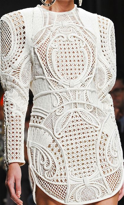 Balmain, Spring Summer 2013 show.  A combination of padded white raffia on nude tulle, design inspired by Cuban chairs