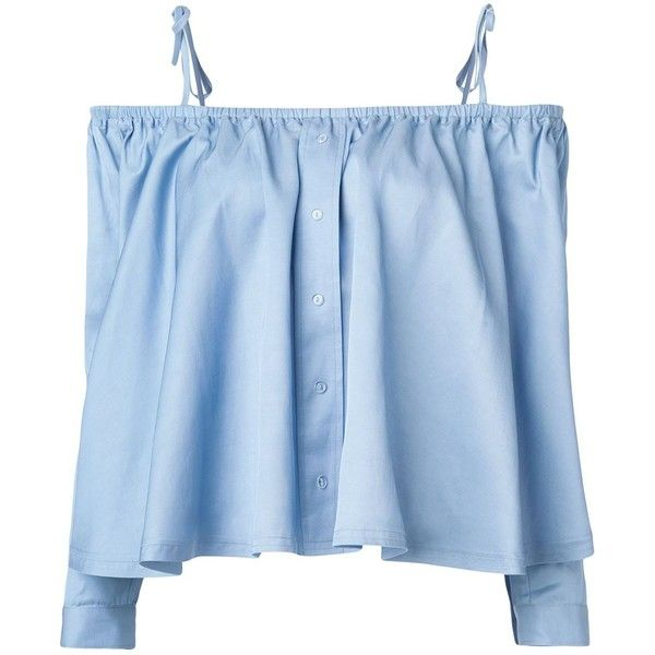 Sandy Liang Hammond Off Shoulder Top - Blue (5.213.015 IDR) ❤ liked on Polyvore featuring tops, shirts, crop tops, kirna zabete, mother's day, blue top, blue shirt, off shoulder shirt, off-the-shoulder tops and crop shirts