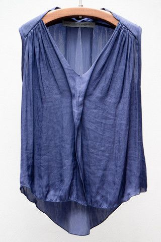 Dark Blue Liquid Satin Sleeveless Blouse