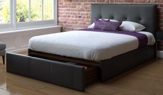 Rialto Bedstead 135cm End Drawer Black