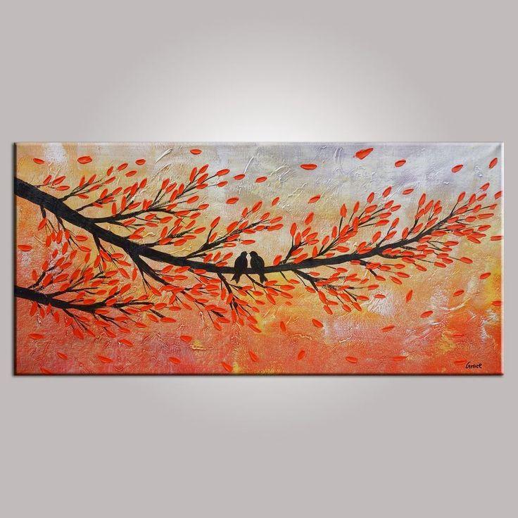 Abstract Art, Contemporary Wall Art, Modern Art, Love Birds Painting, Art for Sale, Abstract Art Painting, Dining Room Wall Art, Canvas Art