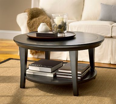 Metropolitan Round Coffee Table, Black #potterybarn - between minisofa and 2 arm chairs