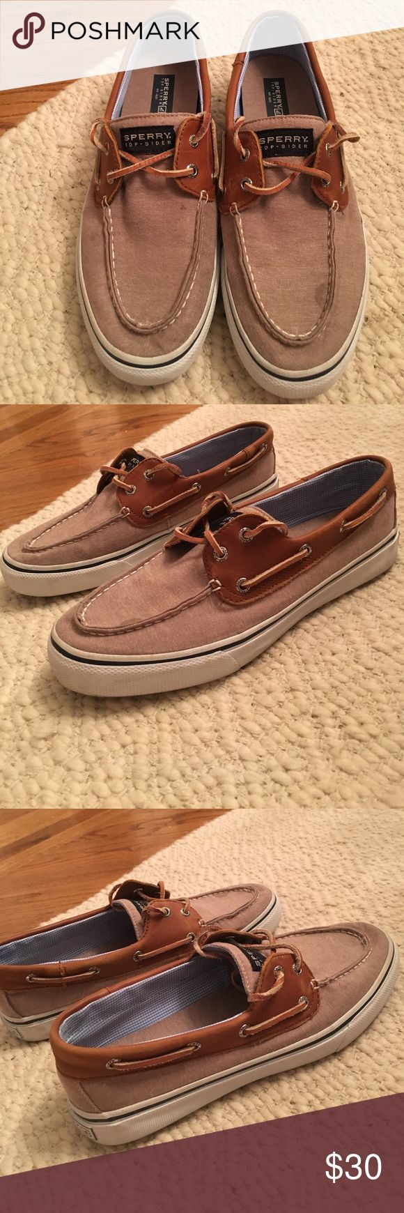 SPERRY TOP-SIDERS MENS SIZE 10.5 SPERRY top-siders men's size 10.5. Canvas and leather material.  A few stains (see pics) but overall shoes are in great condition.  Only worn a few times! Sperry Top-Sider Shoes