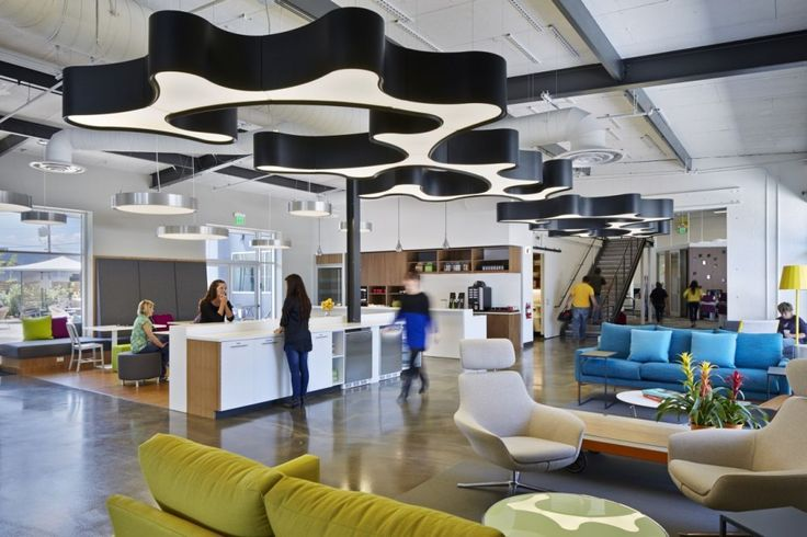 Image 170:  Mix of collaboration styles and feature lighting - One Workplace / Design Blitz
