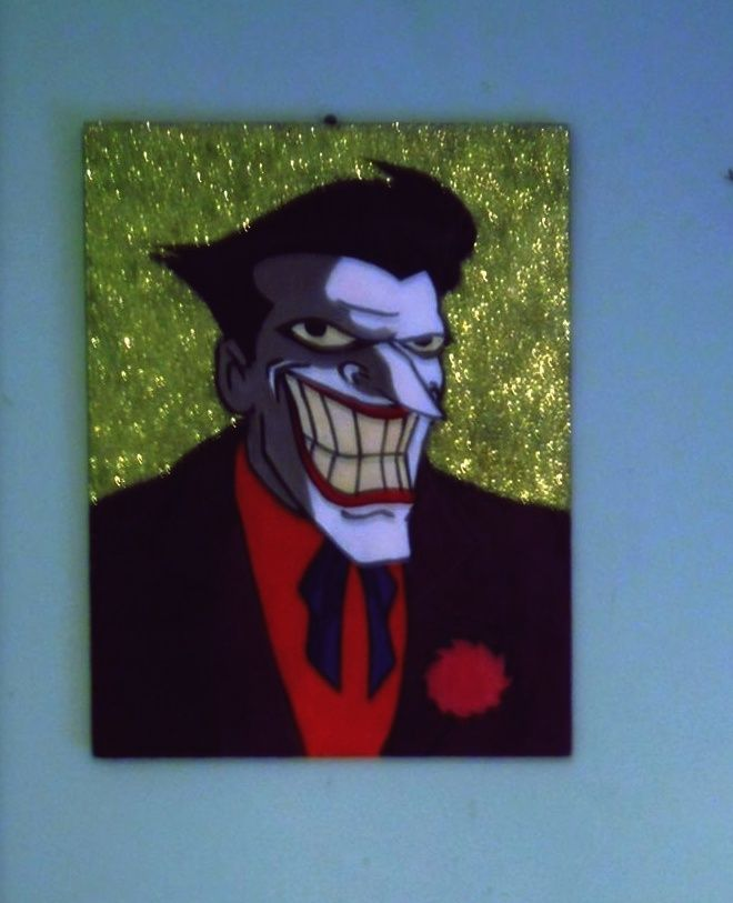 Glitter Joker Hand painted 30x40cm #joker