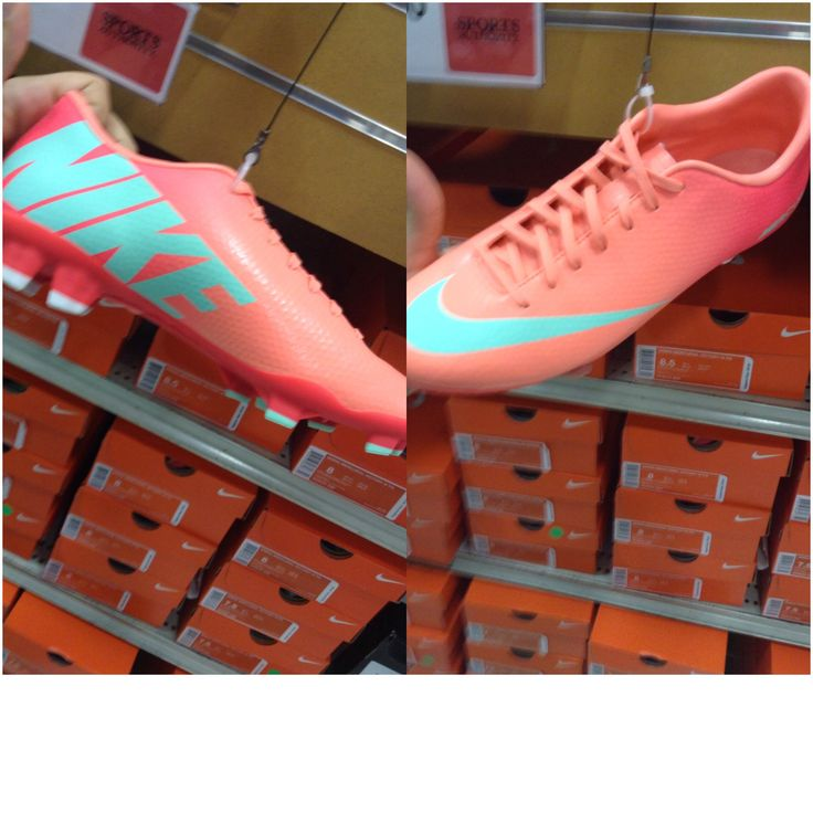 Guava and teal nike soccer cleats dream soccer cleats!!! want!!!!!!!!!