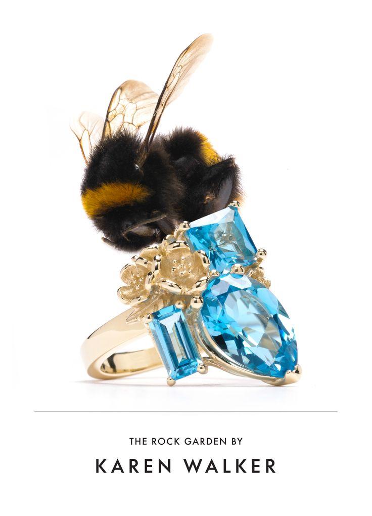 Karen Walker Blue Topaz Rock Garden Ring