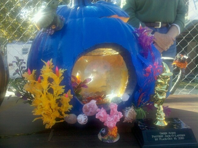 1st place pumpkin 39 under the sea 39 i painted this pumpkin for Best fish for bowl