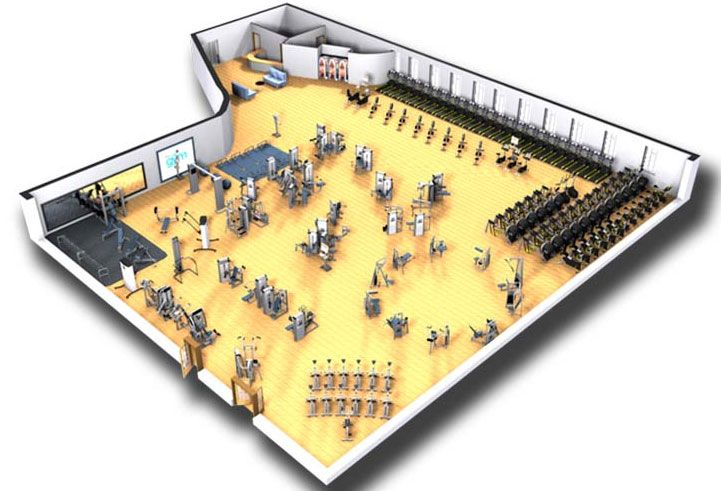 Cybex commercial gym design rendering cybex design for Gym design layout