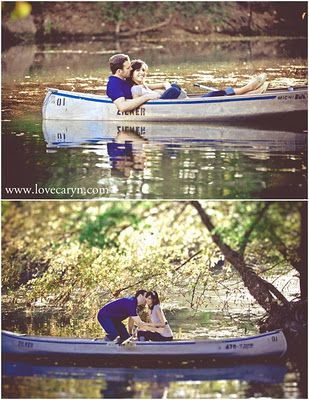 Cute Canoe Engagement Photos (Haha I'd probably fall in...)