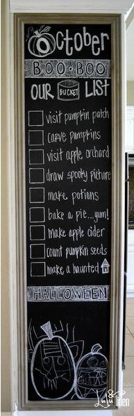chalkboard wall. october. spooky.