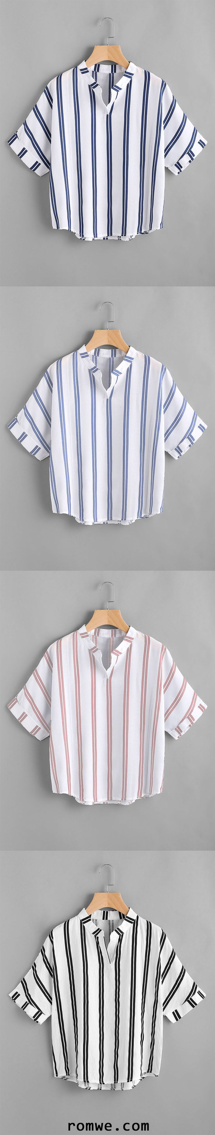 Band Collar Stripe Print Blouse