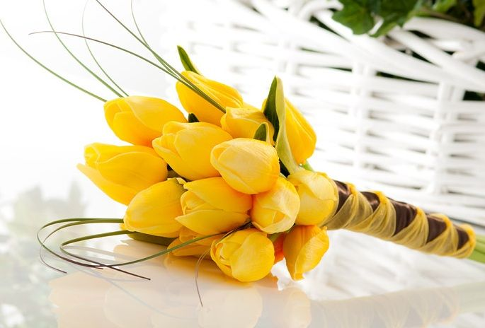 The Classic Yellow Tulip Bridesmaids bouquet is an icon for elegance and grace.