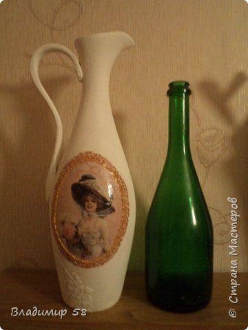 Мастер-класс Поделка изделие Лепка Кувшин из простой бутылки Бутылки стеклянные Тесто соленое Шпагат фото 3