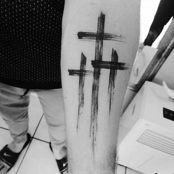 Guys Inner Forearm Simple Christian Paint Brush Stroke Cross Tattoo