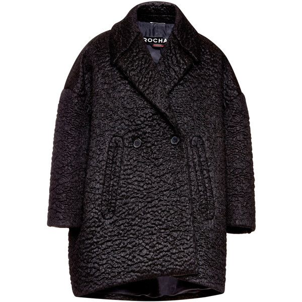 Rochas Black Wool Astrakhan Effect Jacket (23 955 SEK) ❤ liked on Polyvore featuring outerwear, jackets, double breasted wool jacket, rochas, double breasted jacket, black slip and woolen jacket