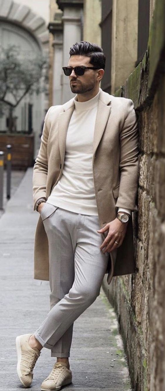 8c0f5af875 Fall business casual inspiration with an cream micro turtleneck brown  topcoat watch gray trousers bracelet sunglasses no show socks beige adidas  sneakers ...