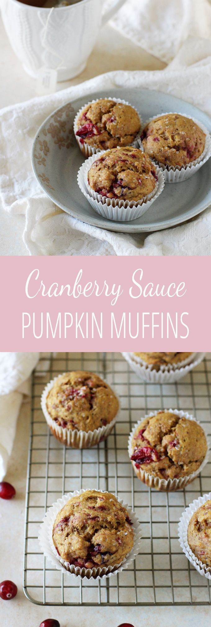 A simple, easy recipe for leftover cranberry sauce pumpkin muffins. Light, fluffy and filled with whole wheat flour, natural sweeteners and plenty of cranberry sauce from Thanksgiving!