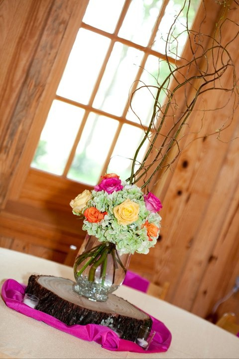 Wedding table centerpiece on a wood round!