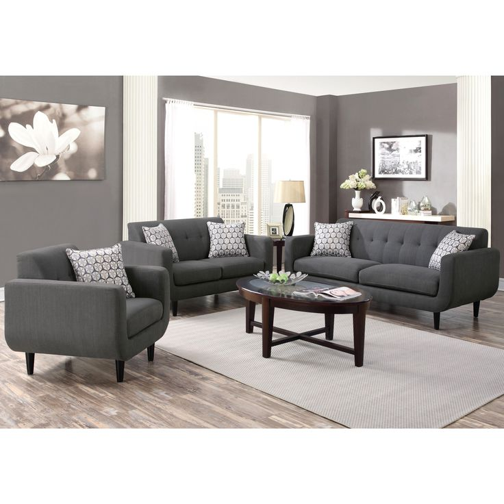 Mid-century Modern Design Grey Living Room Collection (1 Sofa, 1 Loveseat)