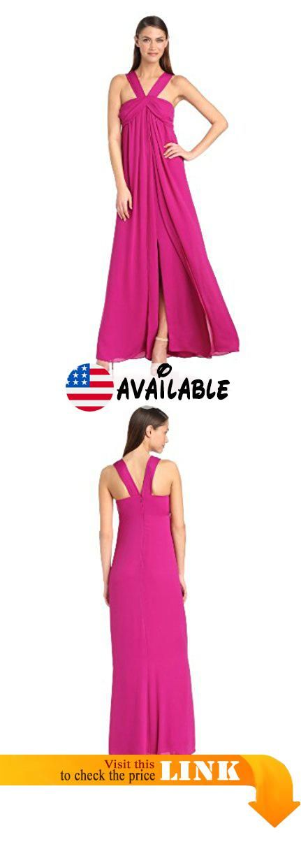 B00G0KHR7I : HALSTON HERITAGE Women's Pleated Strap Neck Evening Gown with A-Line Skirt Bright Magenta 12. Easy flowy evening gown with a draped bust line. Constructed in two layers with a front slit within the under layer