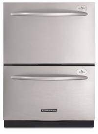 This stainless steel KitchenAid Two-drawer dishwasher is the ultimate in convenience and conservation. This Energy Star Qualified dishwasher has the ability to run 5 cycles on 33% less energy....