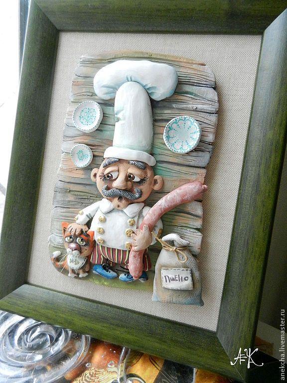 """Купить Панно """"Колбаска"""" - зеленый, панно, котик, Колбаска, повар, кухня, Керамика"""