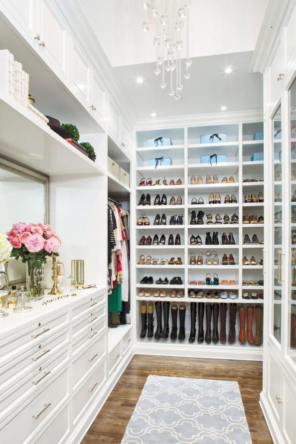Giant walk in closet! Look at all that shoe storage! Closet Book Camp: 5 Pro Tips to Getting The Perfect Closet #InStyle