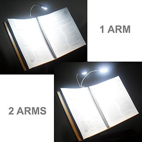 Rechargeable Reading Lamp for Bed & Music Stand Light - Double Arm 8 LED Bulbs (56Lm) - Portable Book Light - BONUSES: Dual Charger, 78in USB Cable & Travel Bag - Gift for Mom or Dad by Ecologic Mart