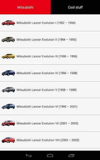 **It is NOT the official MITSUBISHI application. This app was made by car enthusiasts. This free app is dedicated for all MITSUBISHI fans**<p>MITSUBISHI Evolution and History.<p>Travel through the app pages and see how Mitsubishi designers and engineers created and innovated Mitsubishi cars' exterior.<br>Discover Mitsubishi philosophy in every generation of cars' design.<p>In this minimalistic app all cars are shown from the same angle of view. It will allow to notice and compare the changes…