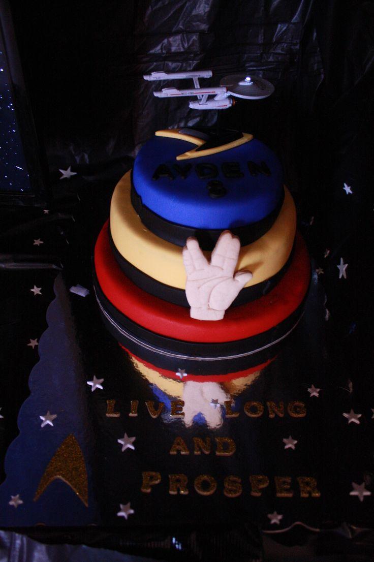 Three Tiered Star Trek Birthday Cake Fondant Facebook
