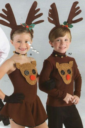 Reindeer Costume Holiday Dance Skate School Boys Girls Antlers Fuzzy Face | eBay