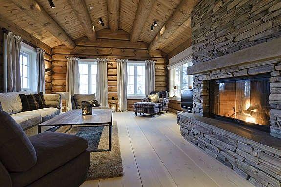 rustic-modern norwegian log cabin