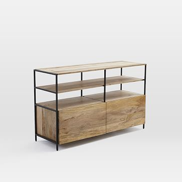 "Rustic Modular 49"" Media Console #westelm natural wood finish, modern design and 2 levels of open shelves."