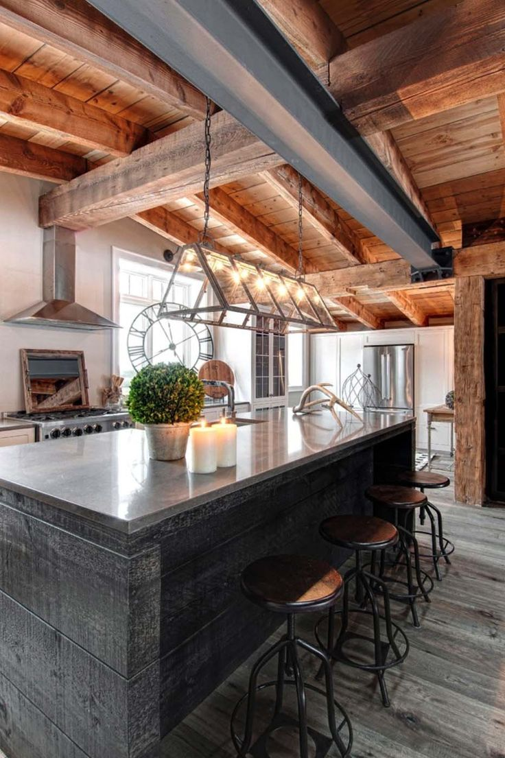 luxury canadian home reveals splendid rustic modern aesthetic - Rustic Modern Kitchen