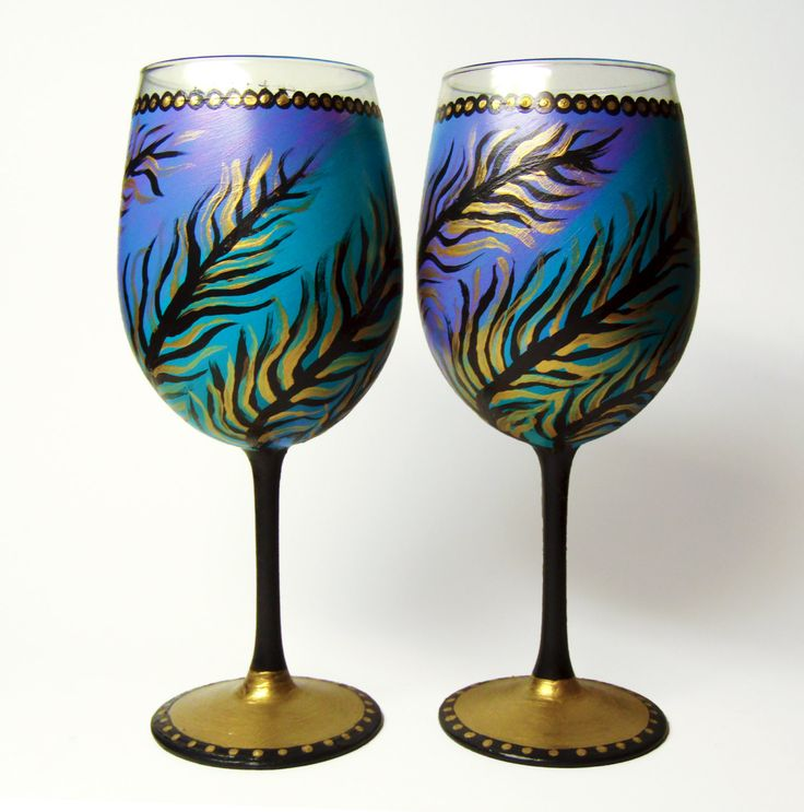 Hand Painted Wine Glasses Set Of 2 Unique By