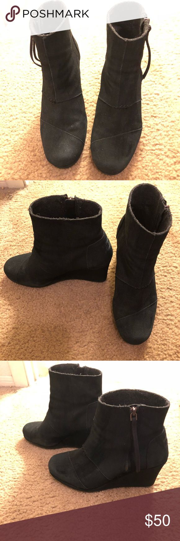 Toms black wedges Great little boot wedges, perfect with jeans or dresses. The suede uppers were recently cleaned and sprayed with water protectant spray. Rarely worn in like new condition. Toms Shoes Ankle Boots & Booties
