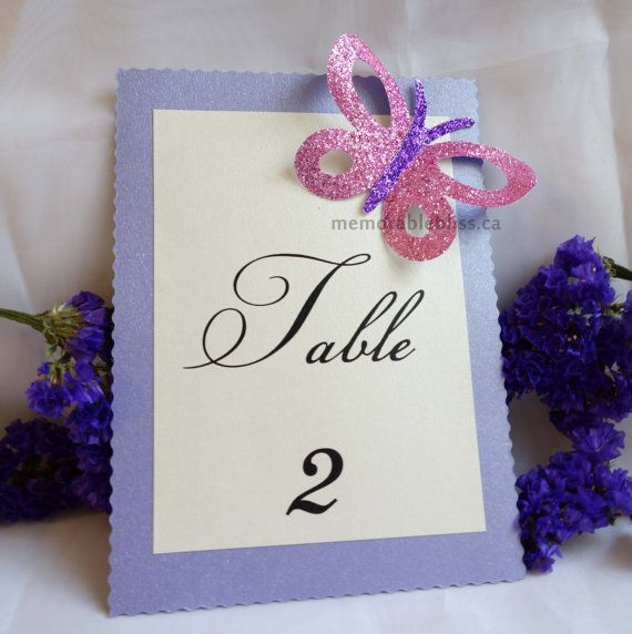 Beautiful glittered Butterfly spring themed wedding table number by MemorableBliss - Spring has sprung!
