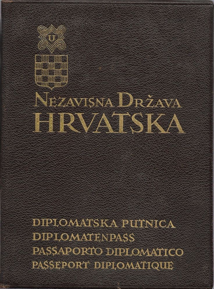 Front cover of the diplomatic passport of the Independent State of Croatia (a WWII fascist German puppet state)