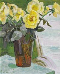 Stilleben med gula rosor by Isaac Grünewald