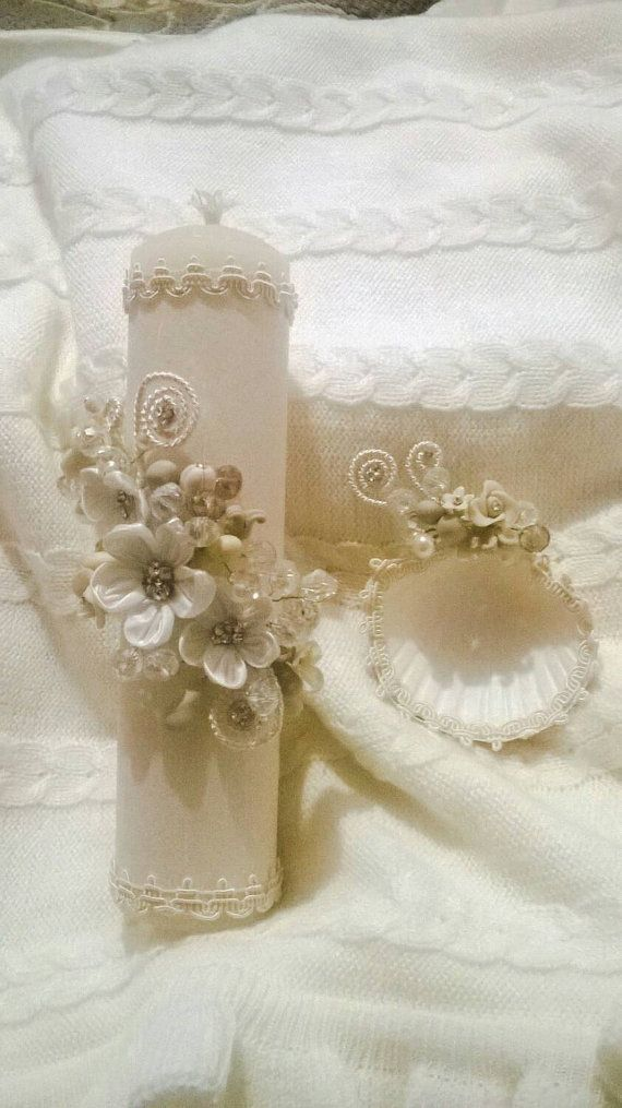 Beautiful set of baptism christening silk crystals ceremony candle shell towel…